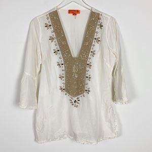 Hale Bob Silk Cotton Embellished Tunic sz M